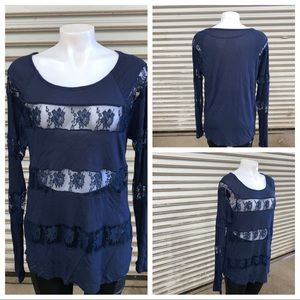 INC blue top with lace inserts